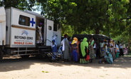 Participants at the fistula camp visits the Beyond Zero mobile clinic